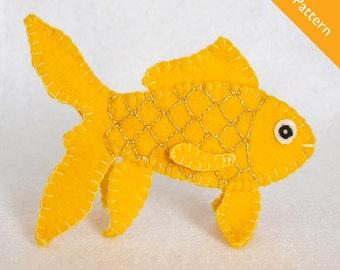 Pattern, felt finger puppet pattern, goldfish finger puppet pattern, fish finger puppet pattern, goldfish