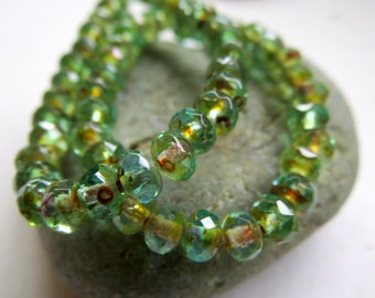 NEW BARELY BEACH . Czech Faceted Picasso Glass Rondelles (30 beads) 3 m by 5 mm