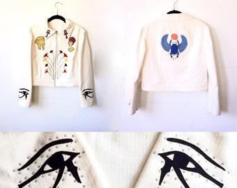 Egyptian Ankh Jacket / Nudie Suit / Cream Jacket with Winged Scarab King Tut Nefertiti / Egyptian Revival