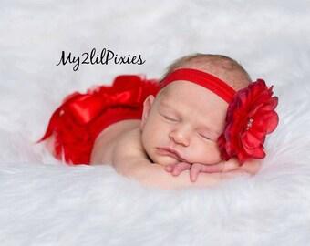 BABY BLOOMER and HEADBAND set- Red ruffle Bloomer,Ruffle Diaper Cover,Baby Girl Clothing set,Headband and bloomer,newborn prop-Ready to ship