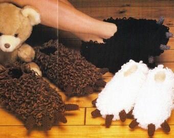 Bear Paw Slippers Vintage Crochet Pattern