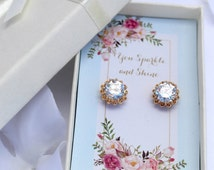 crystal gold earring, gold stud, stud earring, boxed gift earring, floral box, austrian crystal, gold filled earring, rhinestone earring