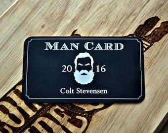 Man Card Personalized Metal Wallet Card, 21st Birthday, Bachelor, Groomsman Becoming a Real Man Lumberjack