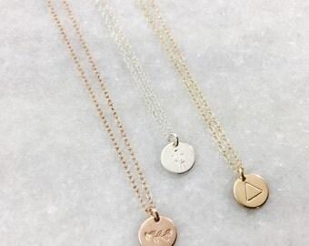 Stamped Symbol Charm Necklace | Custom Necklace | Rose Gold | Sterling | Gold Filled