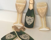 Champagne Bottle and Glass Sugar Cookies - 1 Dozen