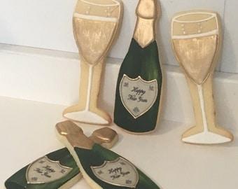 Champagne Bottle and Glass Sugar Cookies - 1 Dozen