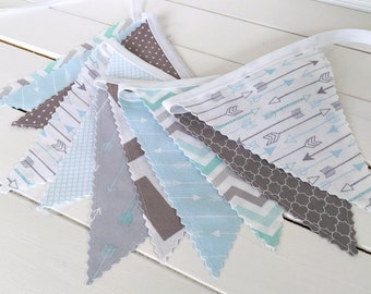 Bunting Banner Flags,Tribal Nursery Decor,Birthday Decoration,Photography Prop,Home Decor,Arrow,Woodland,Baby Blue,Aqua,Grey,Light Blue,Gray