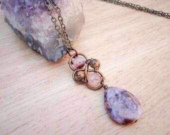Purple Agate Stone Drop Necklace