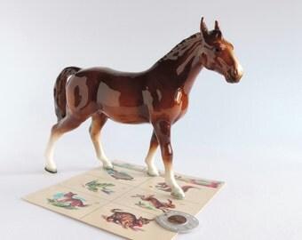 Vintage Horse Figurine, Mid-Century Equine Statue, Thoroughbred Pony, Equestrian Home Decor
