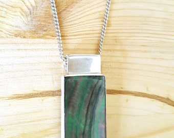SUPER SALE...Striking Rare Modernist Black Lip Shell Sterling Silver 925 Rectangle Pendant. Perfect Gift. ETSY Gift.