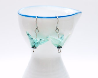 Origami earrings recycled paper turquoise crane with hematite eco-friendly jewelry