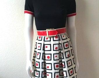 Vintage Women's 60's Mod Dress, Black, Red, White, Polyester, Short Sleeve by Melissa Lane(XS)