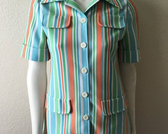Vintage Women's 60's Mod Blouse, Striped, Polyester, Short Sleeve by James Kenrob (S/M)