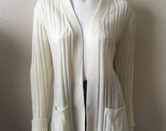 Vintage Women's 70's Cardigan Sweater, Off White, Long Sleeve by Sears (L)