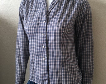 Vintage Women's 80's Casual Corner, Checkered Blouse, White, Blue, Long Sleeve (S)