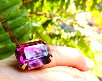 Swarovski Fuchsia Ring Pink Purple Crystal Statement Ring Bridesmaid Gift Rare Vintage Crystal Cocktail Ring Oversized Ring