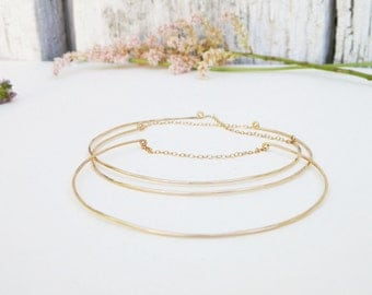 Dainty Gold Chain Bangles, set of three delicate thin gold filled bracelets, minimal simple gold boho bangles, skinny stacking elegant