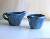 Blue Tulip Rosemead Creamer Sugar Vintage 50s Signed Pottery 1 7/8 inch Tall