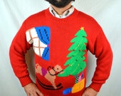 Awesome Vintage 1980s 80s Novelty Christmas Knit Sweater