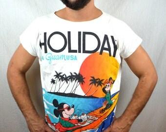 Vintage 80s Rare Guam Oversized Mickey Mouse Tee Shirt Nightie