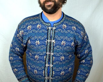 Vintage Wool Icelandic Designs Floral Ski Sweater Cardigan