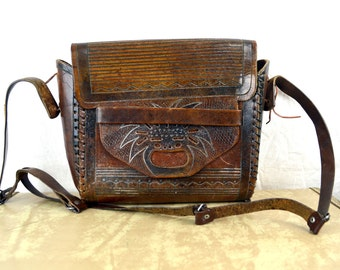 Vintage 1970s 70s Tooled Leather Mayan Native Tribal Purse Bag Handbag