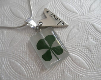 Real 4 Leaf Clover Cat's Eye Rectangle Pendant with Love-Heart Charm-Symbolizes Good  Luck, Hope, Faith & Love-Gifts Under 30