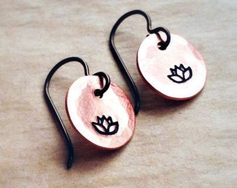 Lotus Stamped Copper Earrings with Antiqued Copper Wire