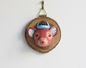 Tasmanian Devil Wall Sculpture - faux taxidermy animal head, small wall hanging, childrens room reading nook decor, wood slice art
