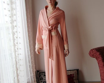 womens long robe in cotton french terry with patch pockets - WAFFY loungerie and loungewear range - made to order