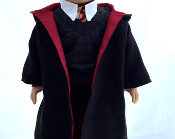 18 Inch Brunette Boy Doll with Blue Eyes  Dressed in a A Wizards Costume is a American Girl Doll With A New Boys Wig