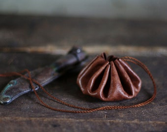 Leather herb pouch - small size