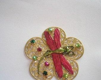Dragonfly Vintage Jewelry Animal Rhinestone Brooch