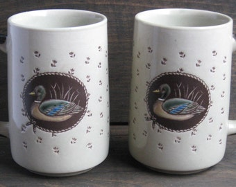CLEARANCE Sale 50% Off - Vintage Set of Mugs - Tall Duck Mugs - Brown-tone Stoneware Mugs - Vintage 1980s Kitchen - Otagiri Style