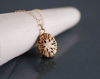 Tiny Gold Locket Filigree Necklace, Oval Locket, Oval Filigree Locker Charm, Small Pendant Jewelry, Miniature, Long Chain