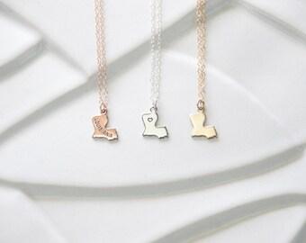 Louisiana Bracelet State Necklace Gift, Rose Gold Louisiana Necklace, State Bracelet Gift Necklace Louisiana Pendant, Louisiana Bracelet