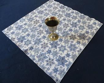 "Set of 4 Judaica Napkins  White cotton print with blue and silver stars of David 18"" Square"