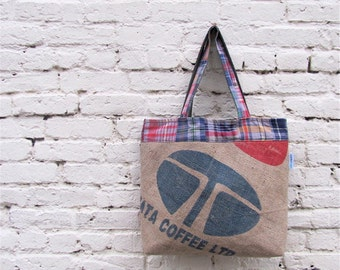 Coffee Lover Chic Upcycled XL Tote - Recycled Burlap Coffee Sack Plaid - Eco Friendly Fashion - Teacher / Travel Bag - His / Her Gift