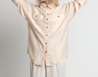 Vintage 90s Pale Pink Airy Silk Long Sleeve Blouse   M