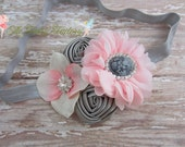 Pink and Gray Headband, Pale Pink Silver Satin Chiffon & Hydrangea Flowers Cameo Headband or Hair Clip, Vintage Baby Child Girls Headband
