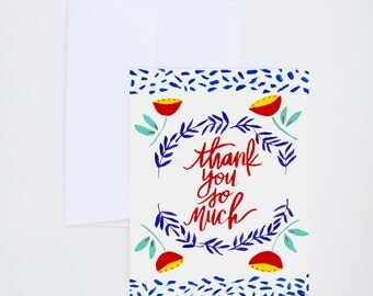Thank You Greetings - Folk Floral Design - Thank You So Much  - Painted & Hand Lettered Cards - A-2