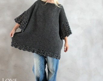 Plus Size Tunic Dress Oversized Sweater Grey Plus Size Sweater Oversized Tunic Hand Knit Sweater Handmade Oversized Pullover