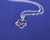 Infinity Heart Necklace, Bridesmaid Jewelry, Heart Charm, Herat necklace, tiny heart, infinity necklace, best friend gi