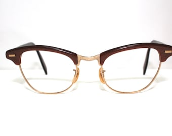 1950s Womens Eyeglasses // 50s Vintages Frames // Clubmaster Style // Gold Filled // Shuron