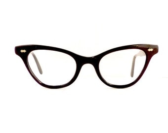 Black Cats 50s Cateye Eyeglasses Frames Women's Vintage 1950's Made in USA #M317 DIVINE