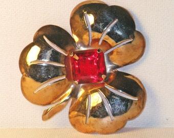 Vintage Art Deco Large Sterling Silver Rose Gold Shamrock Brooch Pin  (B-4-2)