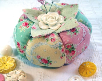 Pincushion Sweet Cottage Chic Rose Tomato Pincushion- Ready to Ship