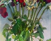 "Still Life of Roses - 11x14"" Original Oil Painting Valentine Art Gift"