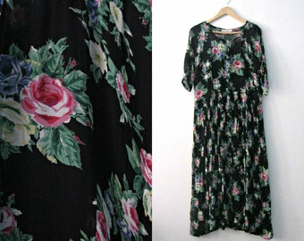 Vintage 80s rose print dress / Floral flowing Festival maxi dress / Bohemian garden 1980s dress