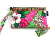 Summer Wristlet. Hibiscus Pink. Repurposed Coffee Bag. Kealakekua, Hawaii. Handmade in Hawaii.